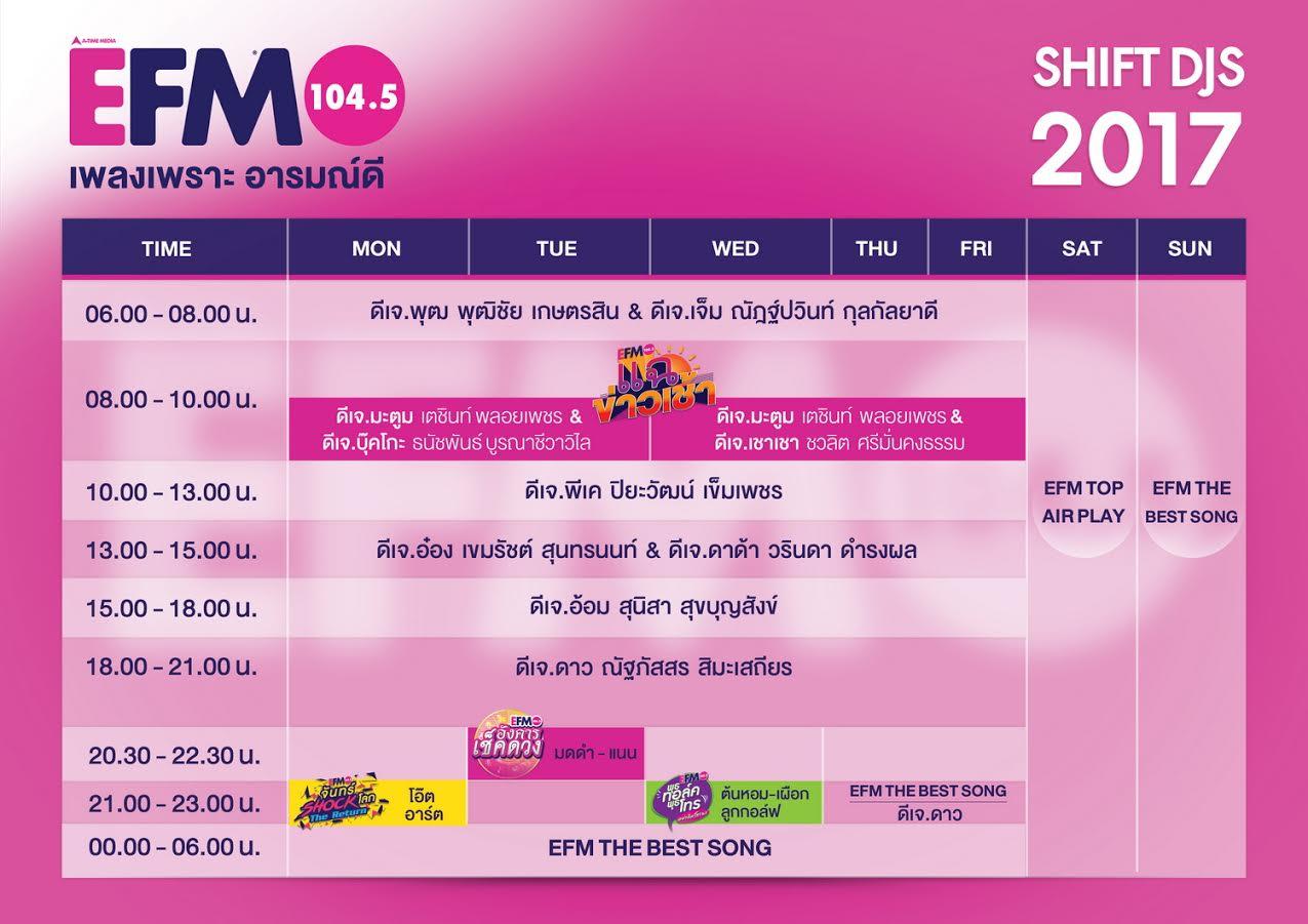 ผังรายการ EFM 104.5 เพลงเพราะ อารมณ์ดี (2017)