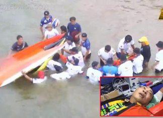เปิ้ล นาคร ศิลาชัย ประสบอุบัติเหตุขับเรือ Fomula1 พลิกคว่ำจนจมน้ำ